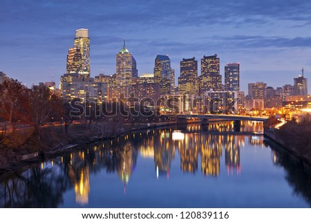 Philadelphia. Image of the Philadelphia skyline at twilight blue hour. - stock photo