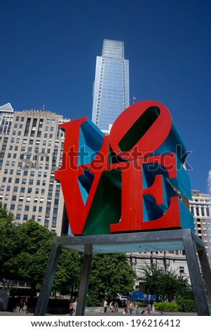 """PHILADELPHIA - MAY 25, 2014: Love Park in Philadelphia. Close up of the park's """"Love"""" sculpture, built by Robert Indiana, was placed in the park in 1976 as part of the Bicentennial celebration. - stock photo"""