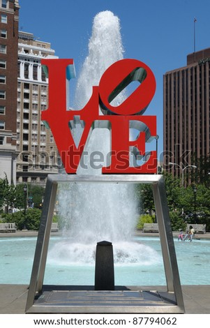 PHILADELPHIA - MAY 30: The love sculpture at Love Park May 30, 2010 in Philadelphia, PA. The sculpture was created for the American bicentennial by Robert Indiana and has since become a global icon. - stock photo