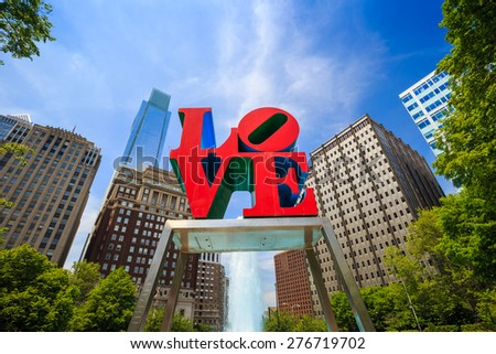 PHILADELPHIA - MAY 8: The popular Love Park named after the Love statue in Philadelphia, USA, on May 8, 2015. It was first placed in the plaza in 1976  - stock photo