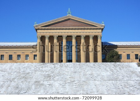 Philadelphia Museum of Art after a snow fall - stock photo