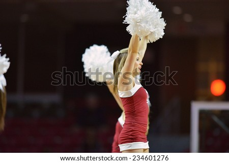 PHILADELPHIA - NOVEMBER 25: Members of the Temple cheerleading squad perform during the Big 5 basketball game November 25, 2014 in Philadelphia.  - stock photo