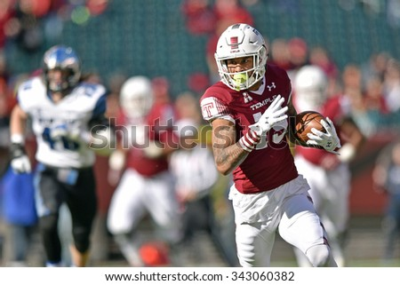 PHILADELPHIA - NOVEMBER 21: Temple Owls wide receiver Robby Anderson (19) runs with the ball after a catch during the AAC football game November 21, 2015 in Philadelphia.