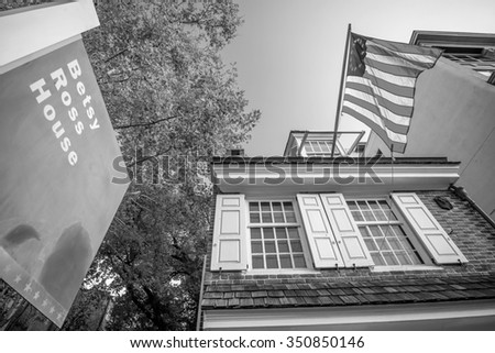 PHILADELPHIA - OCT 19: The historic Betsy Ross house tourism landmark with hanging American flag in Old City Philadelphia  on October 19, 2015. - stock photo