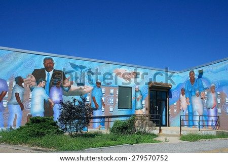 PHILADELPHIA, PA - AUGUST 30: Mural painted on the wall of a building in Philadelphia, PA on August 30, 2011. - stock photo