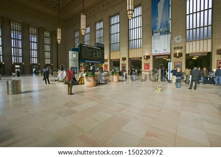 PHILADELPHIA, PA. - CIRCA 2005: Interior view of 30th Street Station, a national Register of Historic Places, AMTRAK Train Station in Philadelphia, PA - stock photo