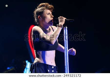 PHILADELPHIA, PA - December 10, 2014: Kiesza performs at the Wells Fargo Center on December 10, 2014 in Philadelphia.  - stock photo