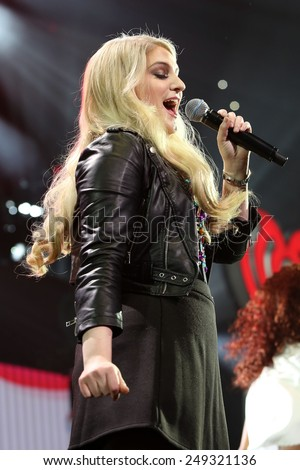 PHILADELPHIA, PA - December 10, 2014: Meghan Trainor performs at the Wells Fargo Center on December 10, 2014 in Philadelphia.  - stock photo