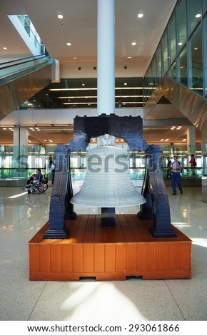 PHILADELPHIA, PA- 22 JUNE 2015- Liberty Bell model made out of Lego bricks on display in Terminal A at the Philadelphia International Airport (PHL). - stock photo