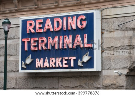 PHILADELPHIA, PA - MARCH 2016: Reading Terminal Market is a historic food and produce market located at 12th & Arch streets in Philadelphia, Pennsylvania. - stock photo