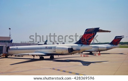 PHILADELPHIA, PA -25 MAY 2016- An MD 80 90 airplane from Delta Airlines (DL) at the Philadelphia International Airport (PHL). - stock photo