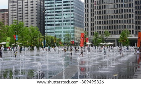 PHILADELPHIA, PA - MAY 10: Dilworth Park Fountain (185x60 feet) in Philadelphia, on May 10, 2015. It is covered by a thin scrim of water with programmable 3-foot-high spouts creating dancing waters - stock photo
