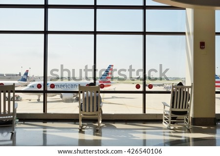 PHILADELPHIA, PA -25 MAY 2016- Inside Terminal C at the Philadelphia International Airport (PHL). - stock photo