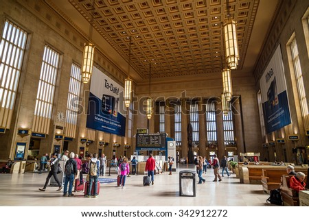 PHILADELPHIA, PA. - OCT 20 : 30th Street Station, a national Register of Historic Places, AMTRAK Train Station in Philadelphia, PA on October 20, 2015