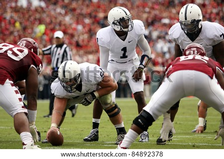 PHILADELPHIA, PA. - SEPTEMBER 17: Penn State Quarterback back Robert Bolden calls the signals in a game against Temple on September 17, 2011 at Lincoln Financial Field in Philadelphia, PA. - stock photo