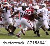 PHILADELPHIA, PA. - SEPTEMBER 17: Penn State Quarterback block during a game against Temple on September 17, 2011 at Lincoln Financial Field in Philadelphia, PA. - stock photo
