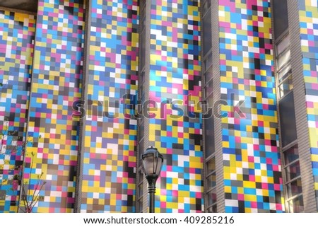 Philadelphia, Pa. USA, April 21, 2016: facade and street lamp in a Philadelphia street. April 21, 2016 in Philadelphia, Pa. USA. - stock photo