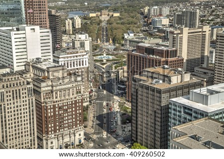 Philadelphia, Pa. USA, April 21, 2016: Philadelphia city view from the top of city hall. April 21, 2016 in Philadelphia, USA. - stock photo