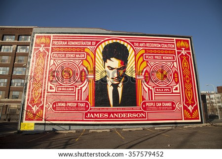 Philadelphia, Pa. USA, Jan. 2, 2016: mural in a parking lot in Philadelphia. Jan. 2, 2016 in Philadelphia, Pa. USA. - stock photo