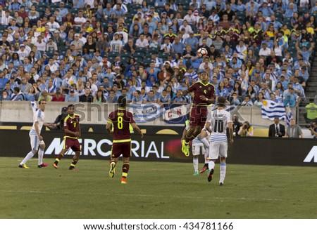 Philadelphia, PA USA - June 9, 2016: Salomon Rondon (9) of Venezuela controls ball during Copa America Centenario game against Uruguay. Venezuela won 1 - 0 - stock photo