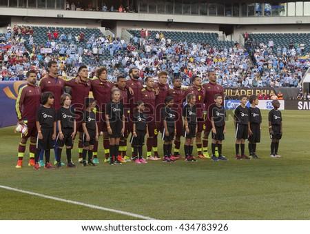 Philadelphia, PA USA - June 9, 2016: Team Venezuela sings national anthem before Copa America Centenario game against Uruguay. Venezuela won 1 - 0 - stock photo