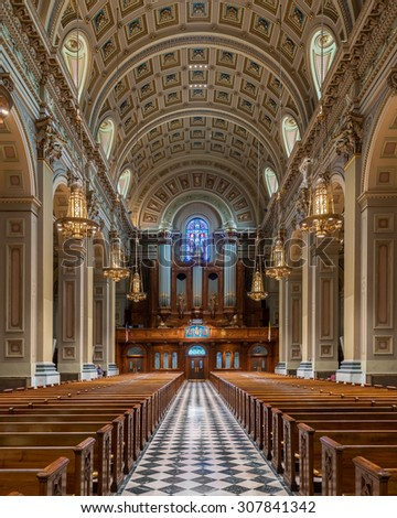 PHILADELPHIA, PENNSYLVANIA - JULY 21: The Cathedral Basilica of Saints Peter and Paul of the Roman Catholic Archdiocese of Philadelphia on Race Street on July 21, 2015 in Philadelphia, Pennsylvania