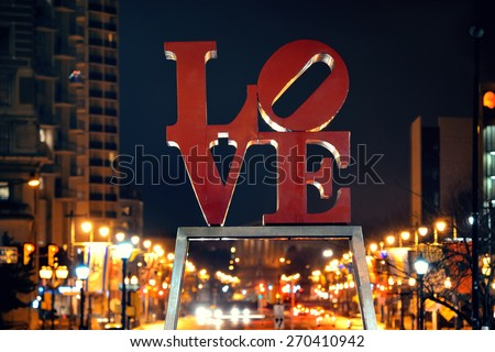 PHILADELPHIA, PENNSYLVANIA - MAR 26: Love Park in city center with buildings on March 26, 2015 in Philadelphia. It is the largest city in Pennsylvania and the fifth in the United States. - stock photo
