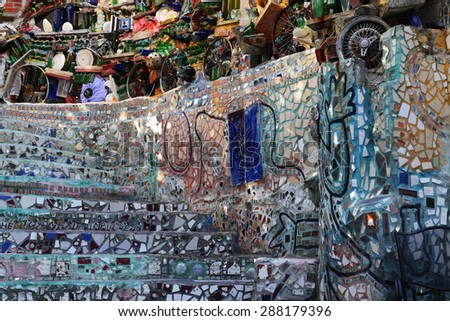 PHILADELPHIA, PENNSYLVANIA - MAY 22, 2015: The Philadelphia Magic Gardens is a unique destination in the artistic district along South Street. - stock photo