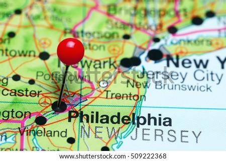 Philadelphia Pinned On Map Pennsylvania Usa Stock Photo - Pennsylvania map