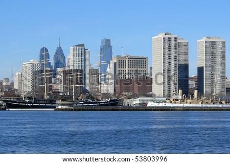 Philadelphia's scenic riverfront on a bright sunny morning. - stock photo