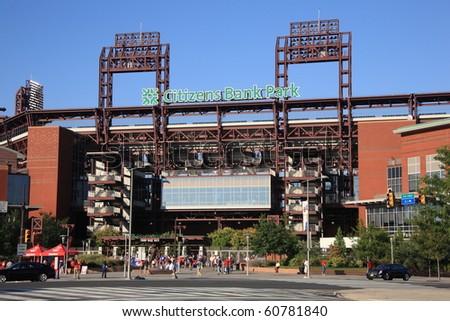 PHILADELPHIA - SEPTEMBER 7:  Citizens Bank Park, home of the National League's Phillies, on September 7, 2010 in Philadelphia. This baseball only stadium opened in 2004, replacing Veterans Stadium. - stock photo