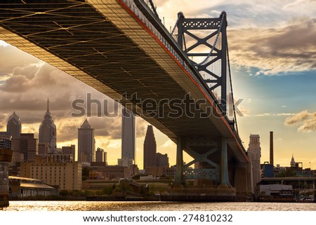 Philadelphia skyline and Ben Franklin Bridge at sunset, USA - stock photo