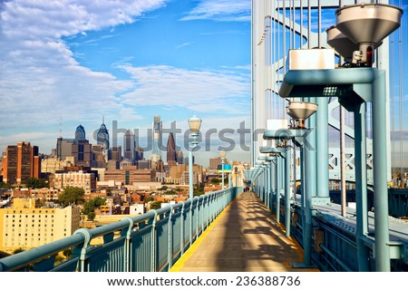 Philadelphia skyline and Ben Franklin Bridge walkway, USA - stock photo