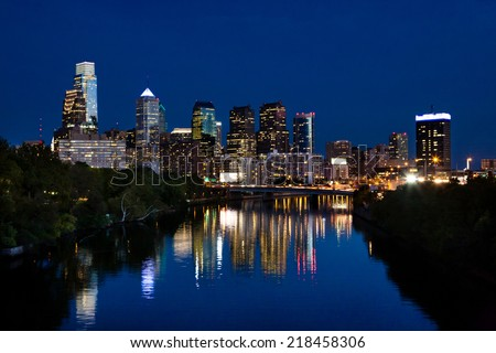 Philadelphia skyline at dusk - stock photo