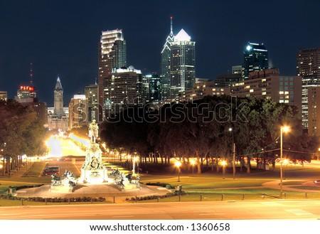 Philadelphia skyline at dusk, taken from the art museum - stock photo