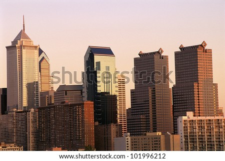 Philadelphia skyline in fading light