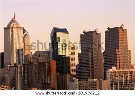 Philadelphia skyline in fading light - stock photo