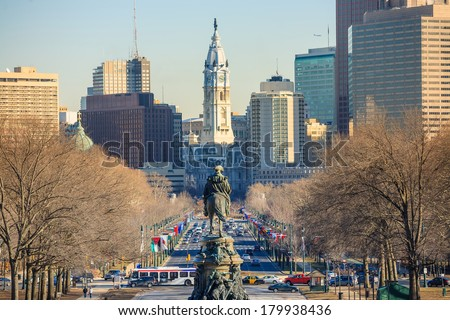 Philadelphia skyline, taken from the art museum