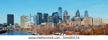 Philadelphia skyline with urban architecture. - stock photo