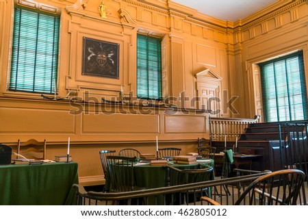 PHILADELPHIA, USA - AUGUST 02, 2016: Independence Hall.  In this place both the United States Declaration of Independence and the United States Constitution were debated and adopted. Editorial.