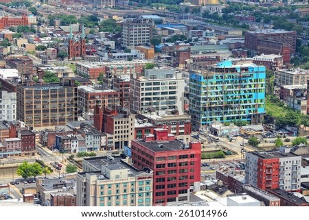 PHILADELPHIA, USA - JUNE 11, 2013: Aerial view of Philadelphia. As of 2012 Philadelphia is the 5th most populous city in the US with 1,547,607 citizens. - stock photo