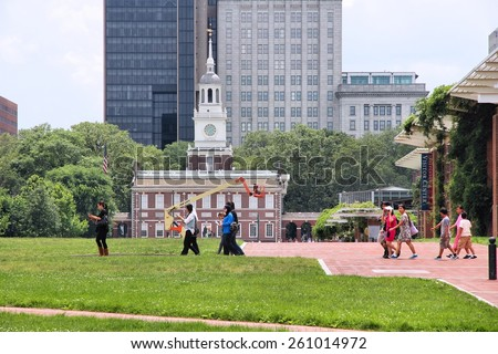 PHILADELPHIA, USA - JUNE 11, 2013: People visit Independence National Historical Park in Philadelphia. The Park was designated in 1948 and is administered by National Park Service. - stock photo