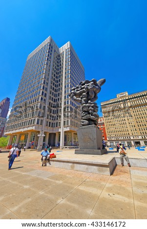 Philadelphia, USA - May 4, 2015: Government of the people sculpture and Municipal Services Building in Philadelphia, in Pennsylvania, the USA. Tourists on the square. - stock photo