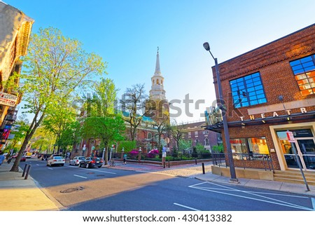 Philadelphia, USA- May 4, 2015: Street view on Independence Hall, Pennsylvania. It is the place where the US Constitution and the US Declaration of Independence were adopted. Tourist in the street - stock photo