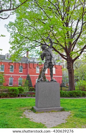 Philadelphia, USA - May 4, 2015: The Signer Statue in Signers Park in the Old City in Philadelphia, Pennsylvania, the USA.