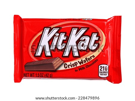 PHILADELPHIA, USA - OCTOBER 30, 2014:  Kit Kat bar isolated on white. Kit Kat is a chocolate biscuit bar confection that is manufactured by Nestle - stock photo