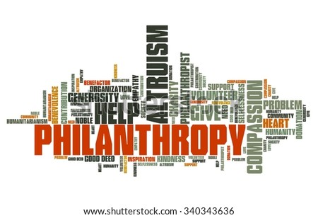 Philanthropy issues and concepts word cloud illustration. Word collage concept. - stock photo