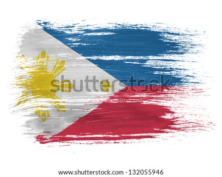 Philippine flag  on white background - stock photo