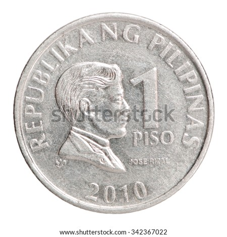 Philippine peso coin 1 with the Image Jose Rizal