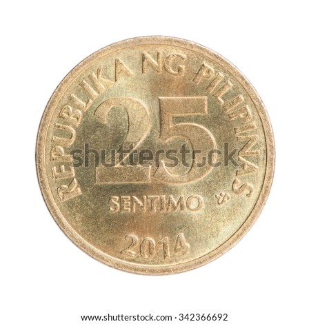 Philippine 25 sentimo coin closeup